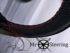 PERFORATED LEATHER STEERING WHEEL COVER FITS PEUGEOT 207 06-12 RED DOUBLE STITCH