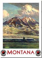 "Cool Retro Travel Poster CANVAS ART PRINT ~ Montana USA train 8""X 10"""