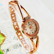 Fashion Women Watch Rose Gold Plated Alloy Rhinestone Dial Bracelet Wrist Watch