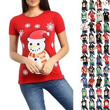 Womens Ladies Christmas Santa Claus Father Suit Belted Costume Print T Shirt Top
