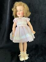 """SHIRLEY TEMPLE 12""""  IDEAL DOLL well loved 1950's VINTAGE Pink Dress(c)"""