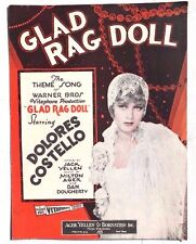 Vintage 1929 Sheet Music: GLAD RAG DOLL Dolores Costello AGER YELLEN & Bornstein