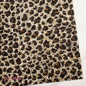 Leopard Print Chunky Glitter Fabric Sheet for Crafts & Bows - Zebra Animal Print