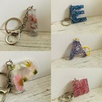 A-Z initial/letter Glitter key rings personalised gift present bag charm, Resin