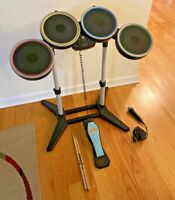 Harmonix Rock Band Wireless Drum Set with Stand, Pedal, Mic and Sticks