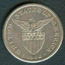 1908-S US Administration Philippines 1 PESO Silver Coin - Stock #G8
