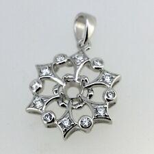 Snowflake Sterling Silver Semi Mount Pendant Setting Round RD 4x4mm