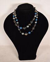 Vintage Vendome Blue Aurora Borealis Crystal Faux Black Pearl Clasp Necklace