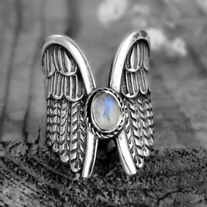 Wing Ring Angel Fairy Bird Feather Bohemian Moonstone Boho Silver Womens Size 6