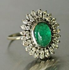 3.50ct Natural Emerald & 1.21ct Diamond 14K White Gold Vintage Ring~ Appsl $4750