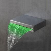 Bathroom LED Waterfall Spout Wall Mount Bathtub Basin Mixer Tap Brass Faucet