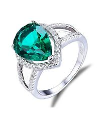 White gold finish Pear Cut Russian green Emerald created diamond ring 3.7ct