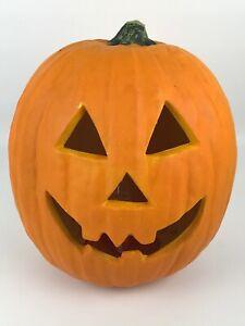 "Gemmy Halloween 13"" Foam Light Up Pumpkin Jack-O-Lantern Scary Decor"