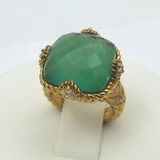 Judith Ripka Gold Vermeil Sterling Silver Green Goddess Cushion Chalcedony Ring