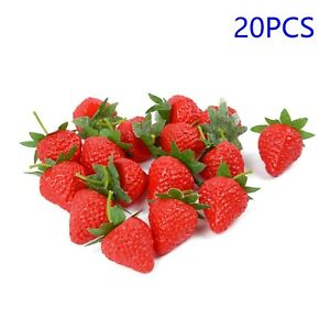 20pcs New Artificial Fruit Red Strawberry Plastic Model Display & Decoration