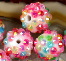 14mm Pink Color Resin Twinkling Disco Ball AB Crystal Spacer Beads 25PCS