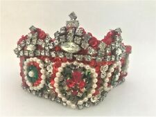 """New listing Older Hand Made Jewelled Rhinestone Xmas Queen Doll Crown Headpiece France 11"""""""