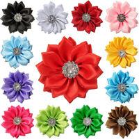 10 PCS 4CM SATIN RIBBON FLOWERS SHINY RHINESTONE APPLIQUES DIY WEDDING CRAFT FIL
