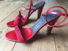 Cute Retro Red Leather Kurt Geiger Beads Strappy High Heels EU36.5 UK3-4