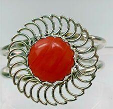 Bracelet w/ Orange Shell Center Lovely Mexican Sterling Silver Cuff