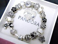 Authentic Pandora Sterling Silver Charm Bracelet With Wife Heart European Charms