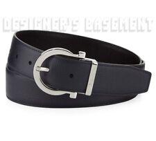 SALVATORE FERRAGAMO pebble black /blue 36 Reversible GANCIO buckle Belt NWT Auth