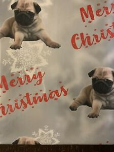 PUG DOG PET MERRY CHRISTMAS PREMIUM GIFT WRAPPING PAPER 60cm