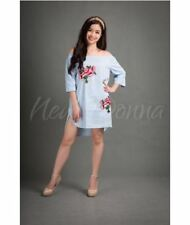 OFF SHOULDER EMBROIDERED DRESS (LIGHT BLUE) #crzycod