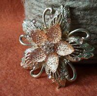 Vintage Gold Tone Metal Petals with Art Glass & Rhinestone Center Flower Brooch