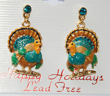 Thanksgiving Turkey Dangling Post Earrings / Gold-tone with Blue Crystal Studs