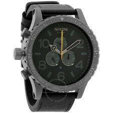 Nixon A124680 NEW Watch Genuine 51-30 Chrono Leather - Gunmetal/Black A124-680