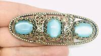 "Large 3"" Czech Moonglow Glass Brooch Ornate Filigree Vintage Art Deco Jewelry"