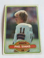 PHIL SIMMS 1980 Topps Football Rookie #225 New York Giants Super Bowl MVP