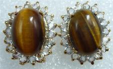 Real Natural Tigereye Tigers Eye 18KGP Crystal Stud Women Lady Party Earrings
