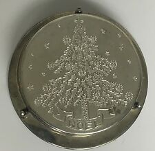 Silver Plated Coasters, Engraved with a Pine Tree and Noel, Set of 6 with stand