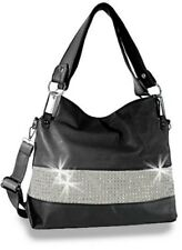 Rhinestone Accented Classic Tote Bling Handbag Large Dual Carry Handles Shoulder