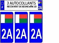 3 stickers plaque immatriculation auto DOMING 3D RESINE DRAPEAU MADAGASCAR 2A