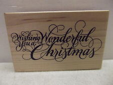 PSX G-1591 UNUSED WISHING YOU A WONDERFUL CHRISTMAS HOLIDAY PHRASE RUBBER STAMP