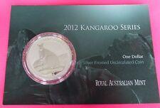 2012 Australia Kangaroo $1 UN DOLLARO ARGENTO 1oz MEDAGLIA con carta di menta