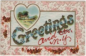 Greetings from Ovid Center NY Vintage Postcard Embossed New York