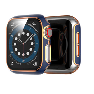 Toughened Film Screen Protect Case Cover With Gold Border For iWatch 38/42/40/44