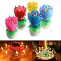Magic Lotus Flower Candle Cake Birthday Decoration Blossom Musical Rotating Gift