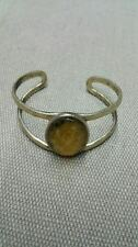 Lucky Brand Gold Tone Cuff Bracelet with Oval Light Brown Accent