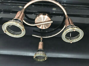 3 Heads Round Curved Tube Spotlight Antique Vintage Copper E14 or SES - LED