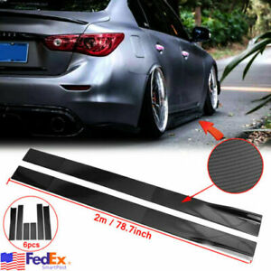 "78.8"" Carbon Fiber Side Skirts Lip Rocker Panel For Infiniti Q50 Q60 Q70 G25 G37"