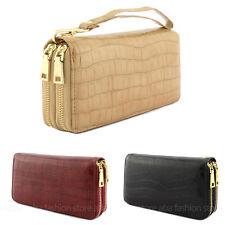 Women Double Zipper Long Wallet Clutch Wristlet Card Coin Holder Faux Leather