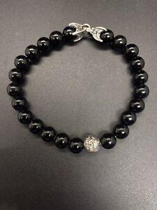 David Yurman Spiritual Onyx With Silver Wave Bead Bracelet Men's