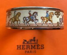 Hermes $550 Printed Enamel Bangle Bracelet  Wide PM Silver
