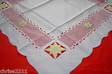 Christmas TableCloth/Table Centre.  Cream with Gold Leaves 33.5 x 33.5 inch