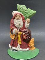 Rustic Christmas Cast Iron Santa Claus Door Stop Decoration Toy Bag Tree Stick